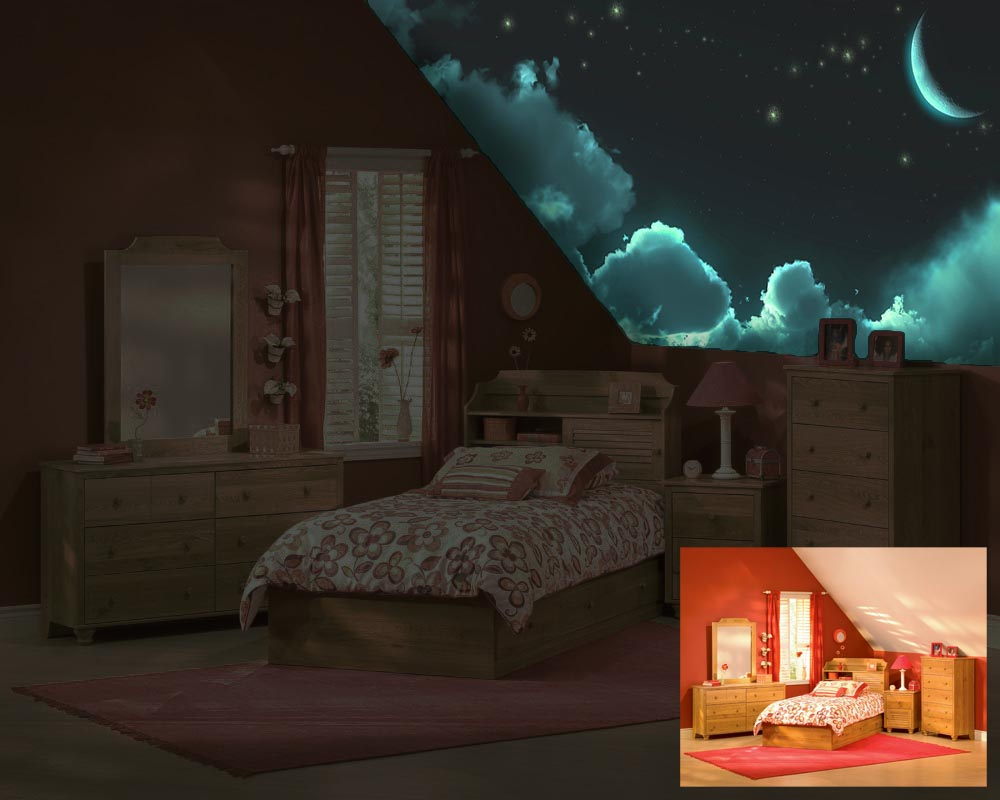 Accente cosmice in decorul dormitorului