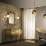 Combinatii rafinate in baie – negru, alb si auriu