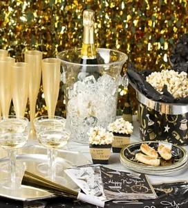 Champagne-Tischdeko-Silvester-Party