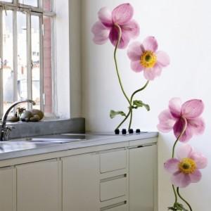 Sticker perete cu anemone roz